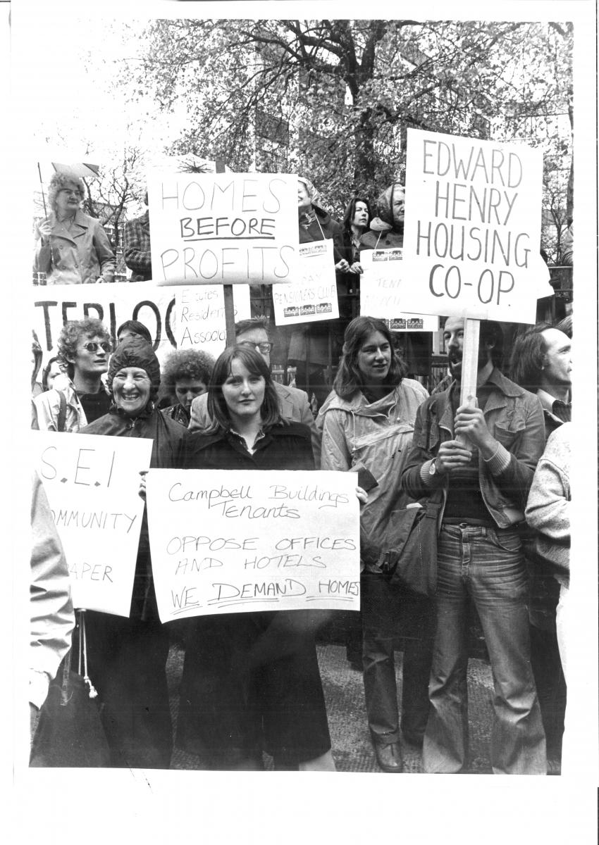 Edward Henry House - Tenants of the community campaigning for co-operative housing on the Southbank of the Thames, Central London circa 1983