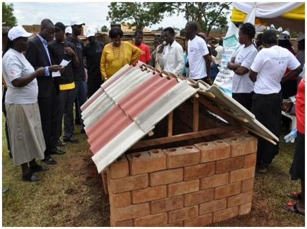 A demo unit constructed by members of the PHCs using the interlocking blocks and the roofing tiles that they make